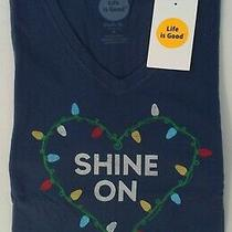 Life Is Good Ls Shirt Crusher Vee Shine on Christmas Lights Heart Blue Womens M Photo
