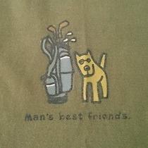 Life Is Good Man's Best Friend Golf Bag Dog Tshirt T Shirt Size M Medium Mens Photo