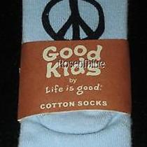 Life Is Good S Youth Kid Socks Ankle Quarter Peace Blue Shoe 7-10 Sweetest Day Photo