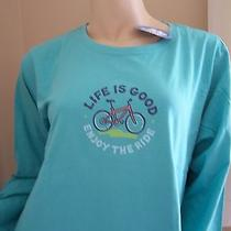 Life Is Good  Womens Long Sleeve Crusher   Simple Bike   Aqua Blue   X-Large Nwt Photo