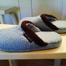 Life Is Good Womens Slippers Light Blue With Brown Trim Size 7  Photo