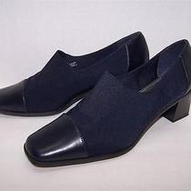 Life Stride Navy Blue Microfiber & Black Leather Pumps 8.5 Photo