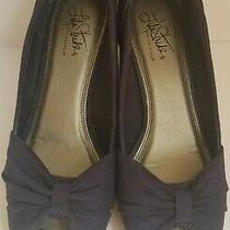 Life Stride Soft System Navy Blue Wedge Open Toe Shoes Size 8.5 M Photo