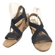 Life Stride Wedge Sandals Mexico Dark Blue Cork Wedge Strappy Stretch Womens 10 Photo