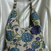 Light Blue Handmade Floral Beaded Linen Shoulder Bag/hobo/tote/sling/shopper Photo
