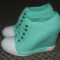 Light Blue Hidden Heel Sneakers. Charlotte Russe. Size 9  Photo
