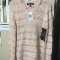 Light Peach or Blush Sweater Juniors Size M With Hoodie Super Cute Photo