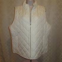 Light Weight Puffer Vest Jacket Xl Gap Ivory Frost Full Zip 2 Side Pockets Nwt Photo