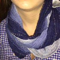 Lightweight Blue Ombre Loop Infinity Scarf in Linen Blend by Mossimo- Nwt Photo