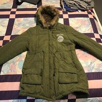Lightweight Coat Parker Faux Fur Lining Size L Khaki Green See Pics Measurements Photo