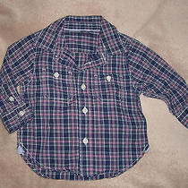 Like New Boy's Baby Gap Dress Shirt Purple Plaid 12-18 Months Easter Photo