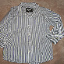 Like New Boy's h&m Dress Shirt Gray Striped 12-18 Months Photo