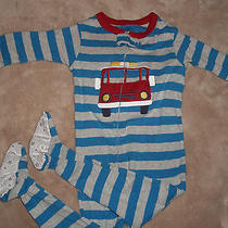 Like New Carter's Boy's Blue/gray/red Fire Truck Footed Pajamas 12 Months Photo