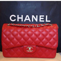 Like New Chanel Classic Jumbo Shw Red in Lamb - 100% Authentic  Photo