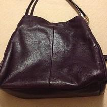 Like New Coach Madison Leather Phoebe Shoulder Bag Black Violet Photo