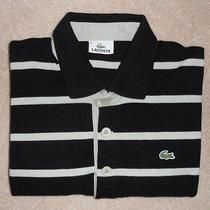 Like-New Lacoste  Medium  Black With Light Grey Stripes  Rugby Photo