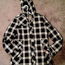 Like New Plaid Billabong White & Black Hooded Jacket Size S W Pockets Photo