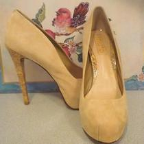 Like New Schutz Stiletto Bamboo Heel Shoes Beige Nude Us 9 Brazil Pumps Suede  Photo