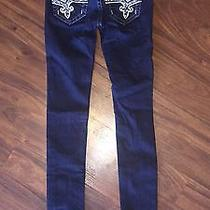 Like New Womens Rock Revival Jeans 24 Plenty of Shine and Rhinestones   Photo