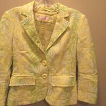Lili Petrus Express Green and Yellow Sparkly Jacquard Blazer Cotton Blend Size 4 Photo
