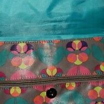 Liliy Bloom Triple Section Messenger Crossbody Bag Floral Print Excellent Shape Photo