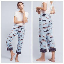 Lilka Anthropologie Dancing Pumas Blue Cotton Flannel Lounge Pj Pants Size Small Photo