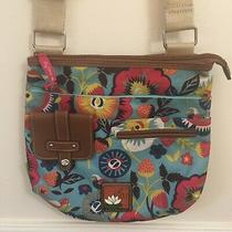 Lilly Bloom Crossbody Bag Colorful Floral W Strawberries Purse Wallet Blue  Photo