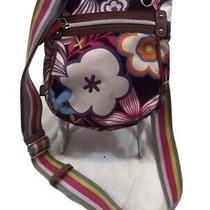 Lilly Bloom Purse Bag Shoulder Nylon Black Multicolor Floral Small Preowned Photo