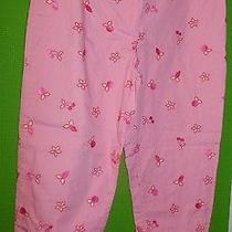 Lilly Pulitzer 10 Pink Embroidered Eyelet Cherries Yellow Back-Lined Pants  Photo
