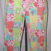 Lilly Pulitzer 14 Tropical Patch Pink Green Summer Crop Ankle Pants Stretch Photo