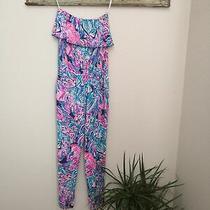 Lilly Pulitzer Ailsie Jumpsuit True Blue Seas the Day Women Medium Flounce Pink Photo