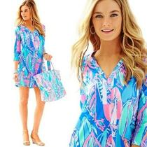Lilly Pulitzer Ali v-Neck T-Shirt Dress Bay Blue Out to Sea 3/4 Xxs 2xs Euc Photo