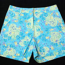 Lilly Pulitzer Aqua Green Yellow Daisies Mice Mid Length Shorts 5