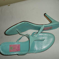 Lilly Pulitzer Aqua Ice Blue Leather Thong Sandals 3.25