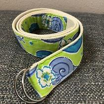 Lilly Pulitzer Belt Adjustable Fabric Green Blue Snail Canvas Silver D Ring L Photo