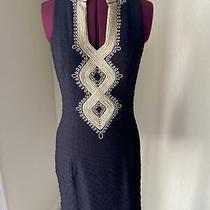 Lilly Pulitzer Black Textured Tunic Dress W/ Metallic Gold Detail Size 2 Photo