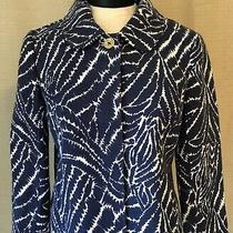 Lilly Pulitzer Blue White Cotton Knit Cropped Jacket Blazer Women Size 6 Lined Photo