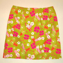 Lilly Pulitzer Bright Colorful Flowers Skirt - 10 - Lime Green Pink White Photo