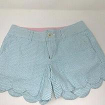 Lilly Pulitzer Buttercup Shorts Sz 00 Blue White Stripe Seersucker Scalloped Hem Photo
