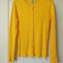Lilly Pulitzer Cable Knit Sweater Yellow Long Sleeve Cardigan Womens Size S Photo