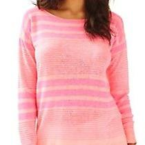 Lilly Pulitzer Camilla Sweater Boat Neck Pink Exotic Garden Striped Xl Nwt Photo