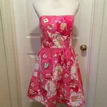 Lilly Pulitzer Cherry Bloom Strapless Dress 12 Pink White Green Floral 96696 Photo