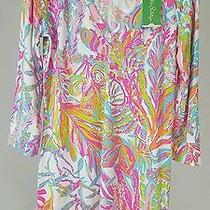 Lilly Pulitzer Christie Dress Medium Scuba to Cuba White Print Nwt 98 Retail Photo