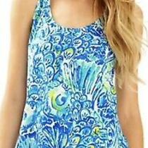 Lilly Pulitzer Cordelia Top Blue Crush After Party Xs Vibrant Blue Racer Back  Photo