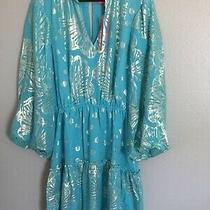 Lilly Pulitzer Dress -Size 10 Aqua Blue-100% Silk Shell With Gold Details Photo