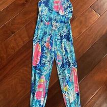 Lilly Pulitzer Girls Imogen Jumpsuit Sailboat Sparkling Blue Hey Bay Medium 6-7 Photo