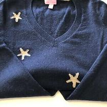 Lilly Pulitzer Gold Star Sweater Navy Size Small Excellent Pre Loved Condition Photo