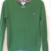 Lilly Pulitzer Green Cotton Cable Knit Pullover Sweater - Sz M Photo