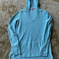 Lilly Pulitzer Hoodie Cotton Knit Sweater Blue Size Xs Photo