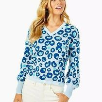 Lilly Pulitzer Jasmina Sweater in Skim Blue Dont Be a Cheetah Sweater Photo